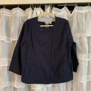 Chico's navy swing jacket.